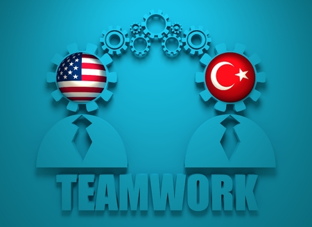 politic: Image relative to politic and economic relationship between USA and Turkey. National flags in gears head of the businesman. Teamwork concept