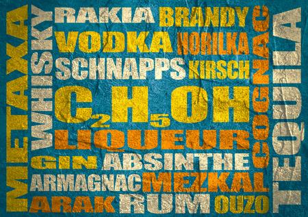rakia: Different drinks list. Drink alcohol beverage. Relative words cloud. Concrete textured Stock Photo