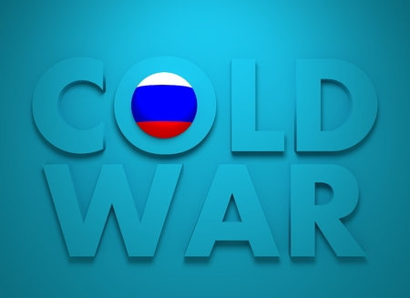 cold war: Russia confrontation United States America concept Cold War. 3D rendering. Blue text Stock Photo