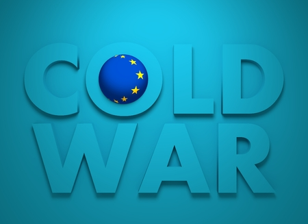 cold war: Russia confrontation European Union concept Cold War. 3D rendering. Blue text
