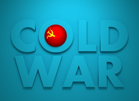 cold war: Soviet Union confrontation United States America concept Cold War. 3D rendering. Blue text