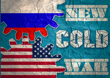 cold war: Russia confrontation United States America concept Cold War. Concrete textured. Flags on gears Stock Photo