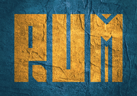 rum: Drink alcohol beverage. Rum word lettering. Concrete textured