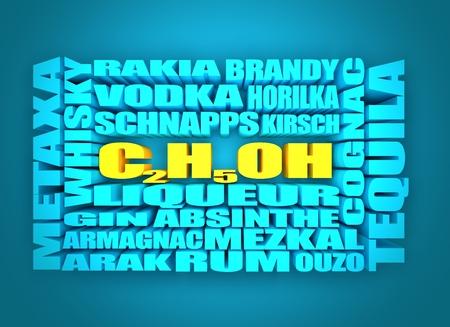 rakia: Different drinks list. Drink alcohol beverage. Relative words cloud. 3D rendering Stock Photo