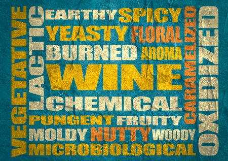 Drink alcohol beverage. Wine tastes relative words cloud. Concrete textured