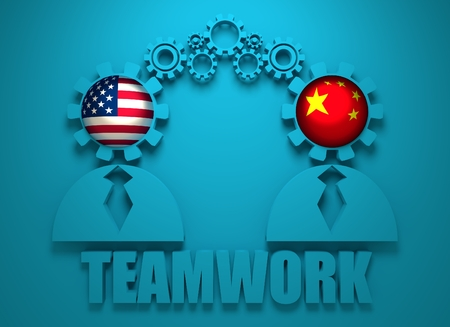 politic: Image relative to politic and economic relationship between USA and China. National flags in gears head of the businessman. Teamwork concept