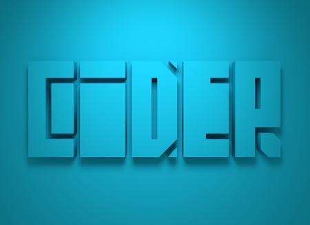 cider: Drink alcohol beverage. Cider word lettering. 3D rendering