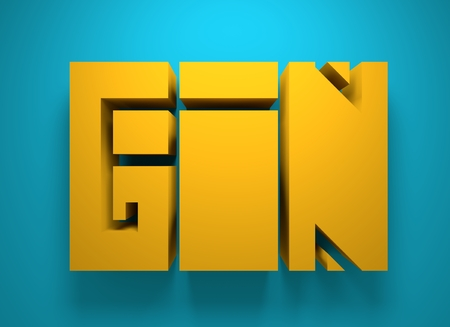 gin: Drink alcohol beverage. Gin word lettering. 3D rendering