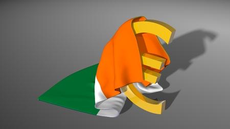 ireland flag: Euro sign . Money symbol covered by Ireland national flag