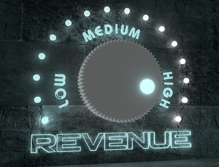 high scale: balance adjust between low and high revenue. regulator with neon shine scale. 3D rendering