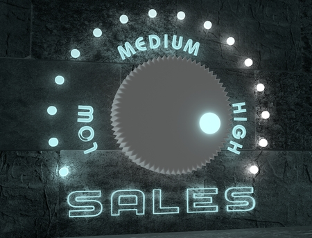 low scale: balance adjust between low and high sale. regulator with neon shine scale. 3D rendering Stock Photo