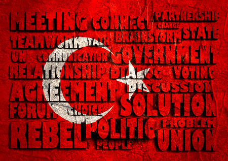 area of conflict: Politic words cloud on Turkey national flag. 3D rendering