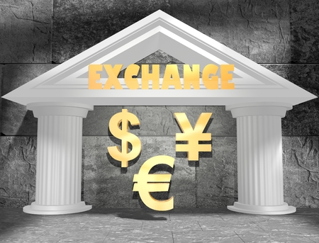 house exchange: Abstract white bank building. Exchange text and money signs. 3D rendering