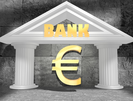house exchange: Abstract white bank building. Text and money signs. 3D rendering