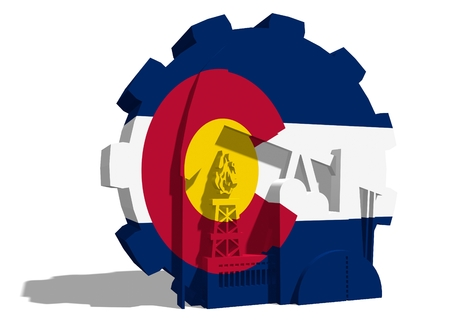 colorado flag: 3D gear with oil pump, gas rig and factory simple icons, textured by Colorado flag. Heavy and mining industry concept. 3D rendering