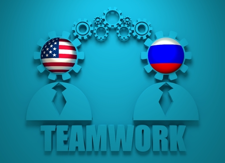 politic: Image relative to politic and economic relationship between USA and Russia. National flags in gears head of the businessman. Teamwork concept. 3D rendering Stock Photo