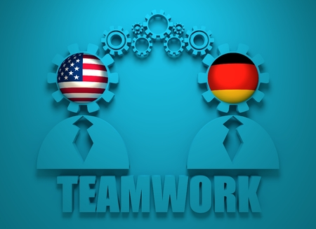 politic: Image relative to politic and economic relationship between USA and Germany. National flags in gears head of the businessman. Teamwork concept. 3D rendering Stock Photo