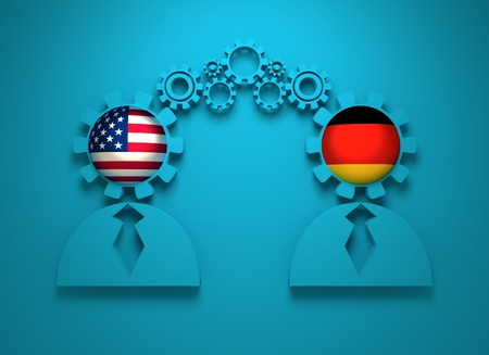 teamwork concept: Image relative to politic and economic relationship between USA and Germany. National flags in gears head of the businessman. Teamwork concept. 3D rendering Stock Photo