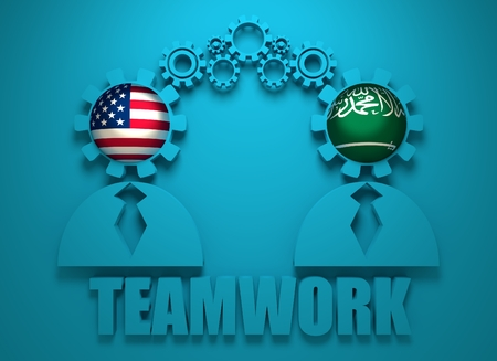 politic: Image relative to politic and economic relationship between USA and Saudi Arabia. National flags in gears head of the businessman. Teamwork concept. 3D rendering