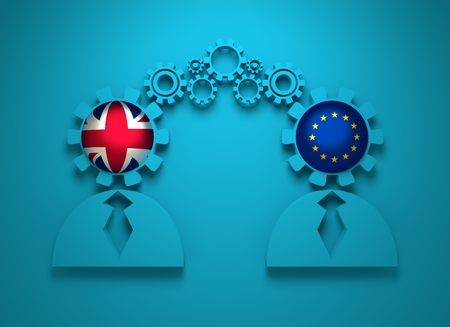 politic: Image relative to politic and economic relationship between United Kingdom and European Union. National flags in gears head of the businessman. Teamwork concept