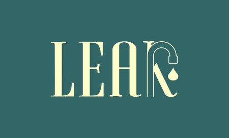 the leak: Leak text with drop from faucet. Typography vector concept