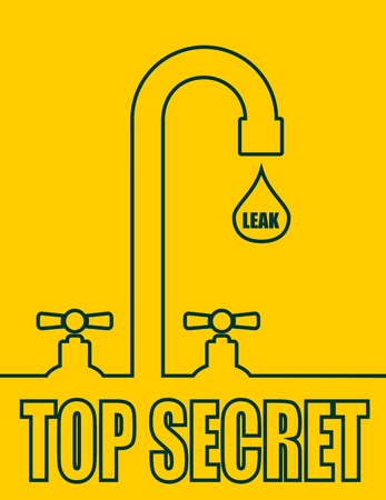 spyware: Leak text with drop from faucet. Typography vector concept. Top secret text