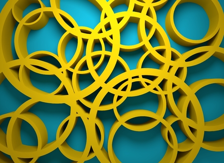 chaotic: Abstract geometry. Circle shapes chaotic pattern. 3D rendering