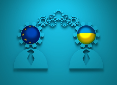 politic: Image relative to politic and economic relationship between European Union and Ukraine. National flags in gears head of the businessman. Teamwork concept. 3D rendering Stock Photo