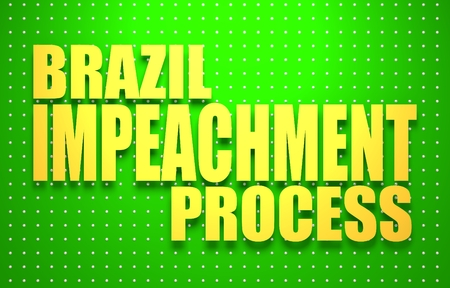 politic: Politic crisis in Brazil. Impeachment text. 3D rendering