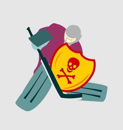 goalie: Vector illustration of ice hockey goalie with knight shield. Skull and crossbones emblem. Sport metaphor