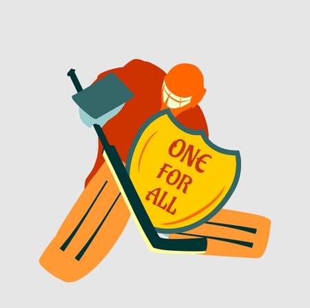 motto: Vector illustration of ice hockey goalie with knight shield. One for all motto. Sport metaphor Illustration