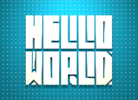 textbox: Hello world. Motivation typography quote. Edged letters font. 3D rendering Stock Photo