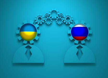 politic: Image relative to politic and economic relationship between Ukraine and Russia. National flags in gears head of the businessman. Teamwork concept. 3D rendering