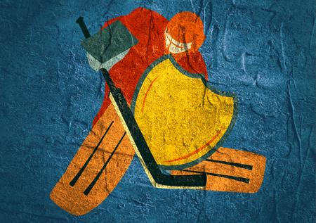 goalie: Illustration of ice hockey goalie with knight shield. Sport metaphor. Concrete textured