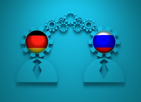 politic: Image relative to politic and economic relationship between Germany and Russia. National flags in gears head of the businessman. Teamwork concept. 3D rendering