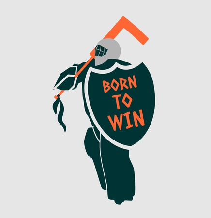 motto: Vector illustration of ice hockey goalie with knight shield. Born to win motto. Sport metaphor. Sport relative quote