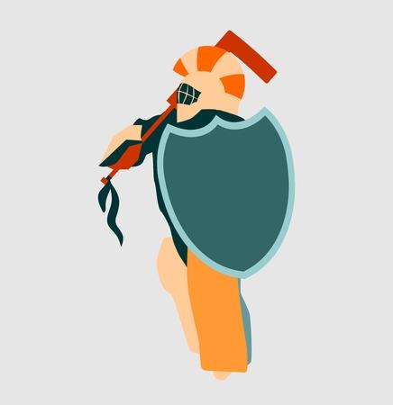 hockey goalie: Vector illustration of ice hockey goalie with knight shield. Sport metaphor. Sportsman as ancient warrior Illustration