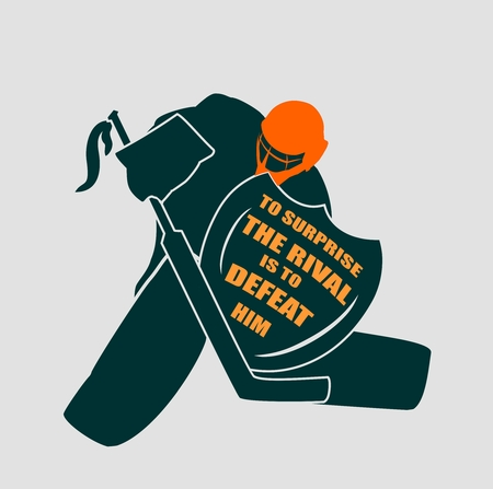 motto: Vector illustration of ice hockey goalie with knight shield. To surprise the rival is to defeat him  motto. Sport relative quote