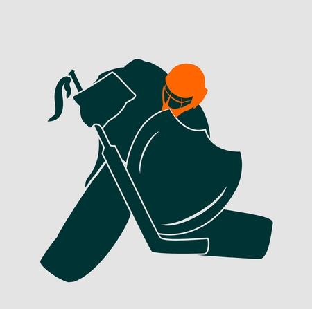 hockey goalie: Vector illustration of ice hockey goalie with knight shield. Sport metaphor