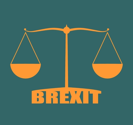 politic: United Kingdom exit from europe relative image. Brexit named politic process. Scales balance yes or no