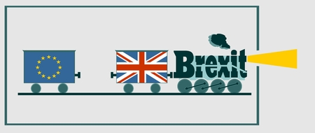 politic: United Kingdom exit from European Union relative image. Brexit named politic process. Referendum theme. Steam train as brexit word