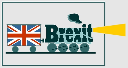 referendum: United Kingdom exit from European Union relative image. Brexit named politic process. Referendum theme. Steam train as brexit word