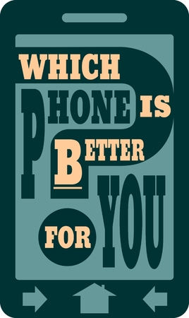 Smartphone icon flat. Which phone is better for you text. Cell phone guide relative