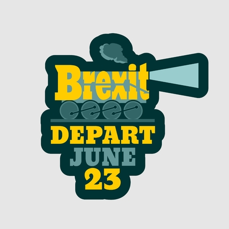 depart: United Kingdom exit from European Union relative sticker. Brexit named politic process. Referendum theme. Steam train as brexit word. Depart june 23 text