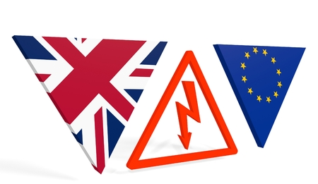 politic: United Kingdom exit from europe relative image. Brexit named politic process. Referendum theme. High voltage sign between EU and UK flags. 3D rendering