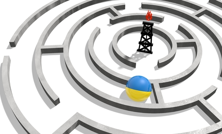 politic: Image relative to politic situation in Ukraine. National flag textured sphere in labyrinth