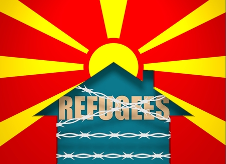 border patrol: Image relative to migration to European Union. Barbed wire closed home icon textured by Macedonia flag. 3D rendering Stock Photo