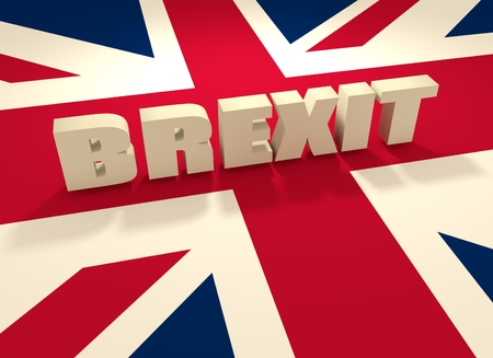 United Kingdom exit from europe relative image. Brexit named politic process. Referendum theme. Brexit text above United Kingdom flag