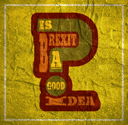 politic: United Kingdom exit from European Union relative image. Brexit named politic process. Referendum theme. Is Brexit a good idea question. Concrete textured Stock Photo
