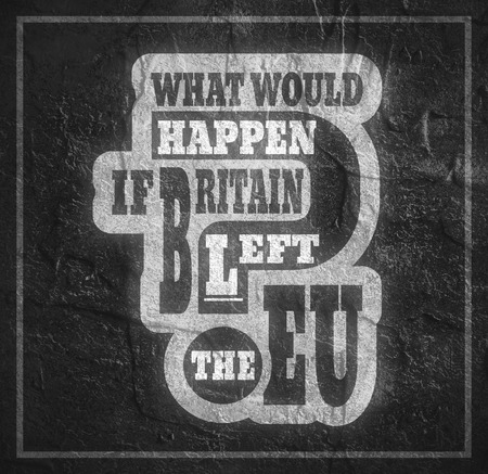 politic: United Kingdom exit from European Union relative image. Brexit named politic process. Referendum theme. What would happen if britain left the EU question. Concrete textured Stock Photo